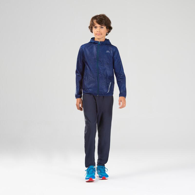 Veste coupe vent enfant pour l'athlétisme Kalenji AT 100 bleue