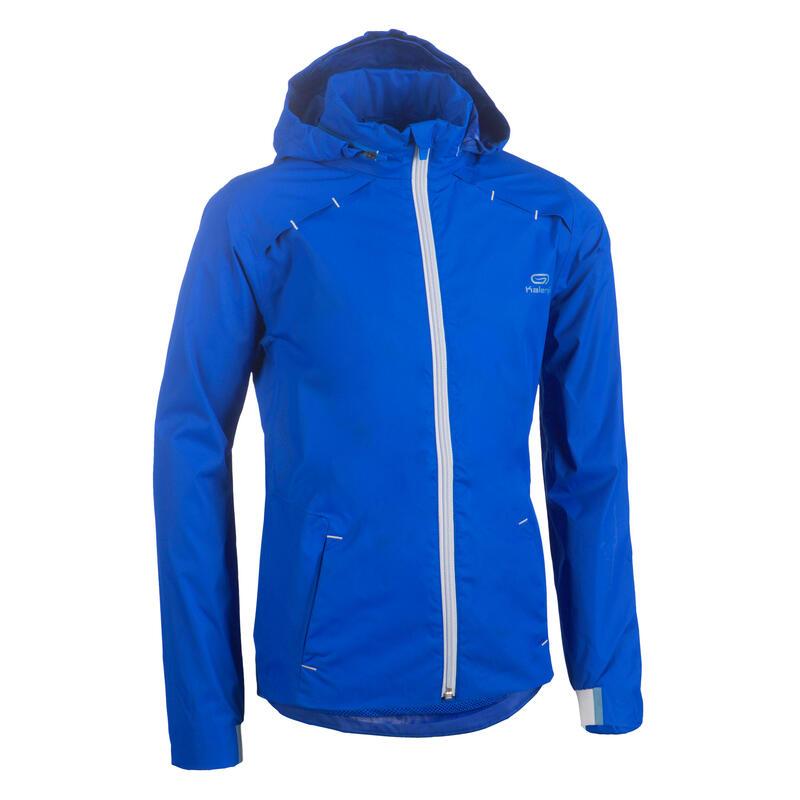 Veste imperméable enfant de running ou d'athlétisme AT 500 bleu électrique