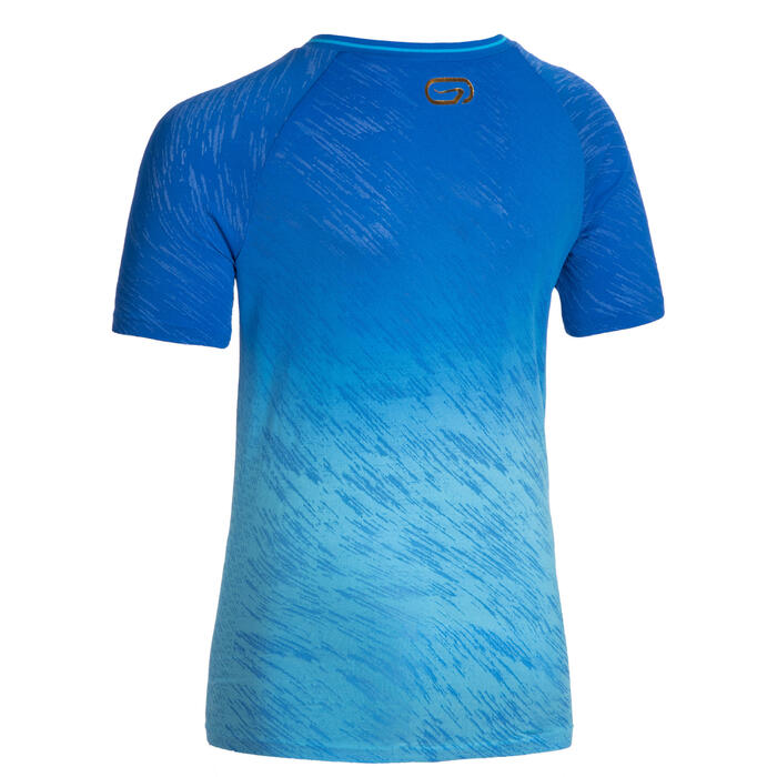 Tee-shirt manches courtes enfant de running ou d'athlétisme AT 500 bleu dégradé