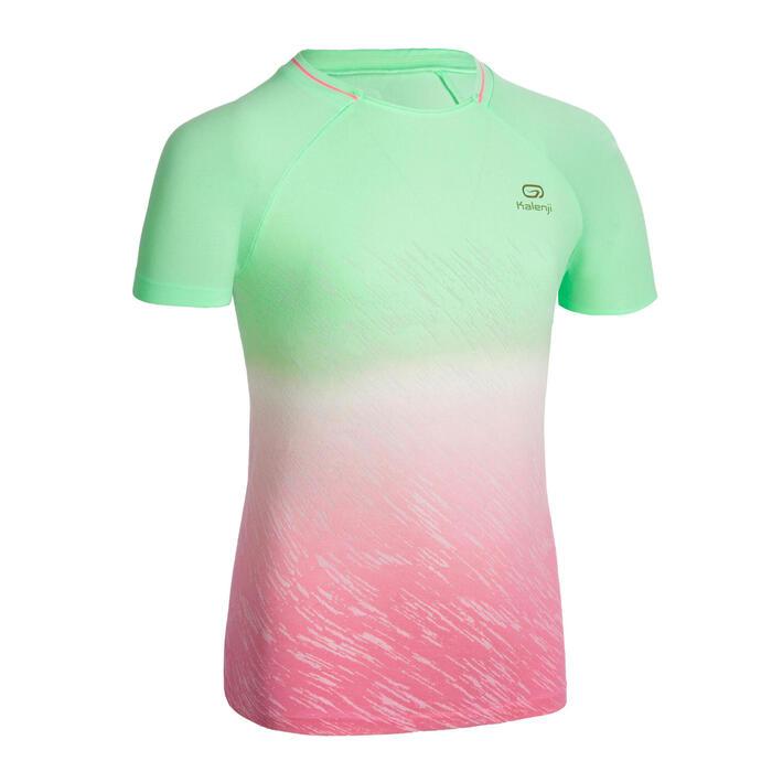 女童跑步短袖T恤AT 500 - 漸層綠和粉色