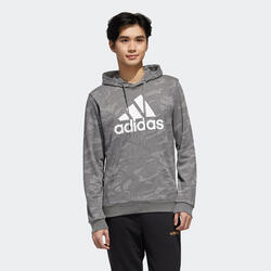 Camisola Fitness Adidas Essentials com Capuz Cinzento Estampado