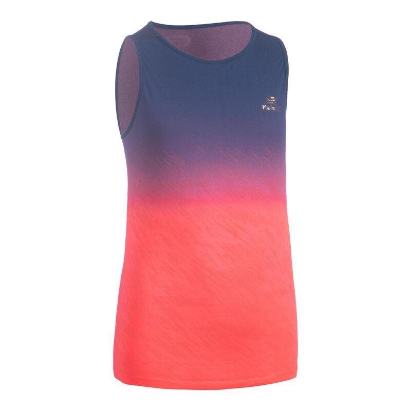 Débardeur fille léger pour le running et l'athlétisme AT 500 bleu et rose fluo