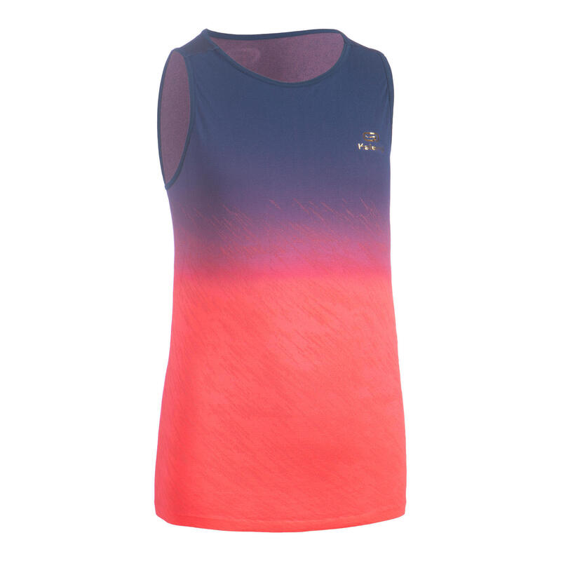 AT 500 Girl's lightweight running and athletics tank top - blue and neon pink