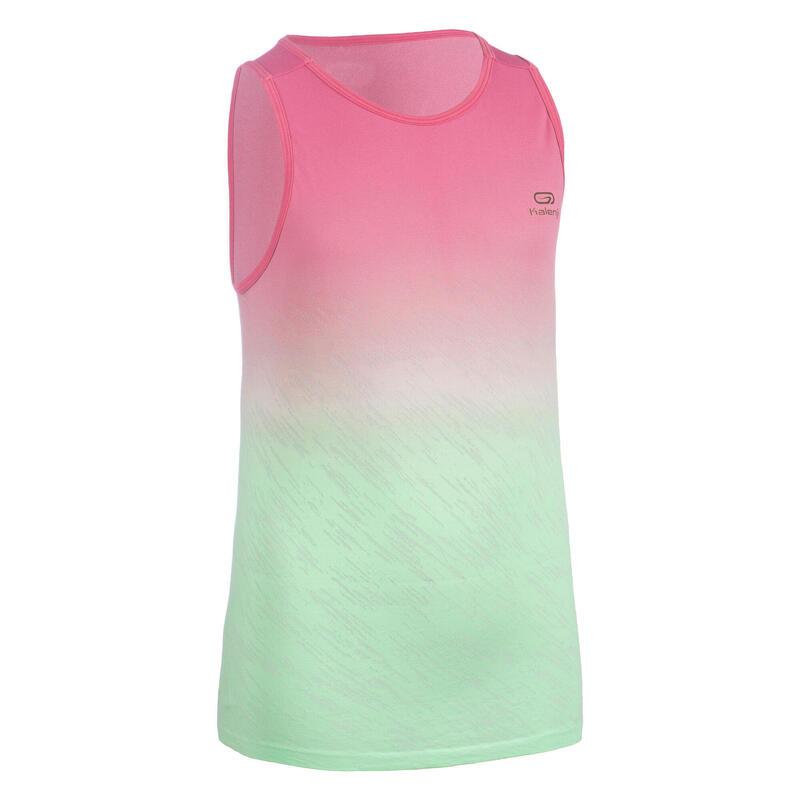 Camiseta Sin Mangas Running/Atletismo AT 500 Niña Rosa Claro Verde Ligera