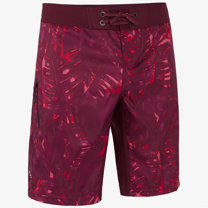 PÁNSKÉ DLOUHÉ BOARDOVÉ ŠORTKY Beach volejbal - KRAŤASY BS500L JUNGLE RED OLAIAN - Oblečení na beach volejbal