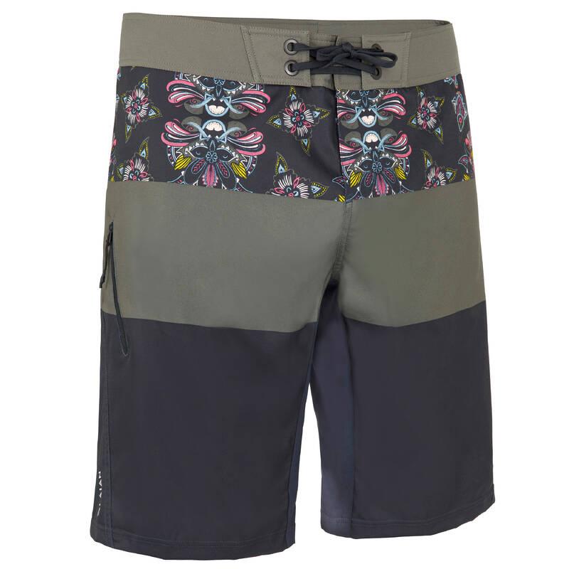 PÁNSKÉ DLOUHÉ BOARDOVÉ ŠORTKY Beach volejbal - KRAŤASY BS500L FRISE BLACK OLAIAN - Oblečení na beach volejbal