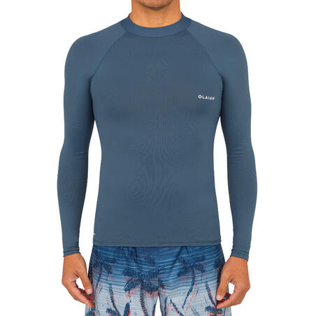 Men's surfing long-sleeved UV-protection top T-shirt 100 - grey