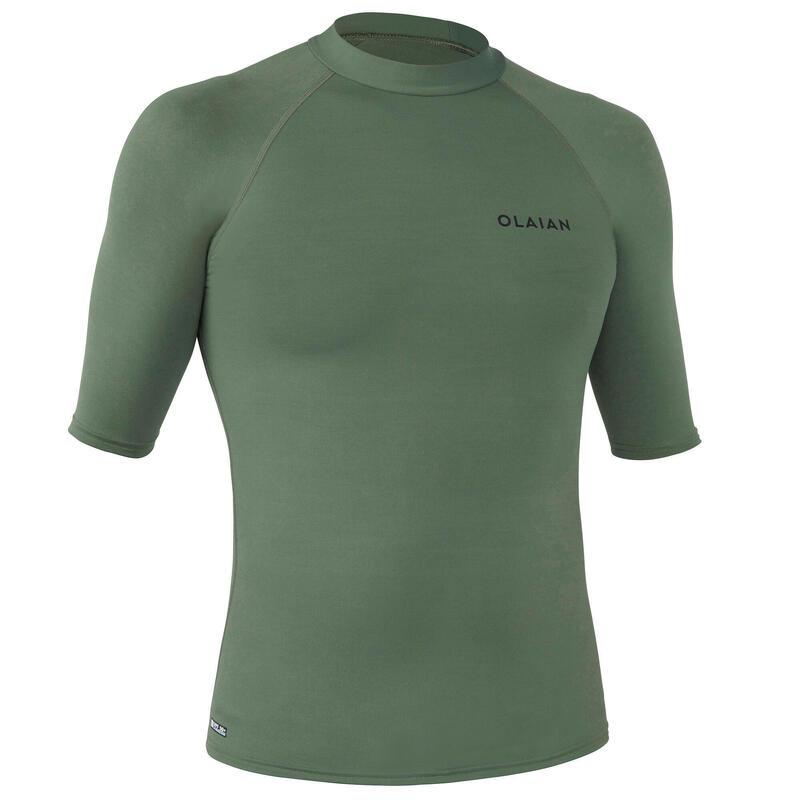 tee shirt anti uv surf top 100 manches courtes homme kaki