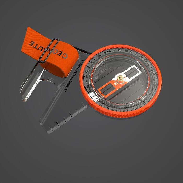 BOUSSOLE POUCE DROIT pour course d'orientation RACER 500 noir orange