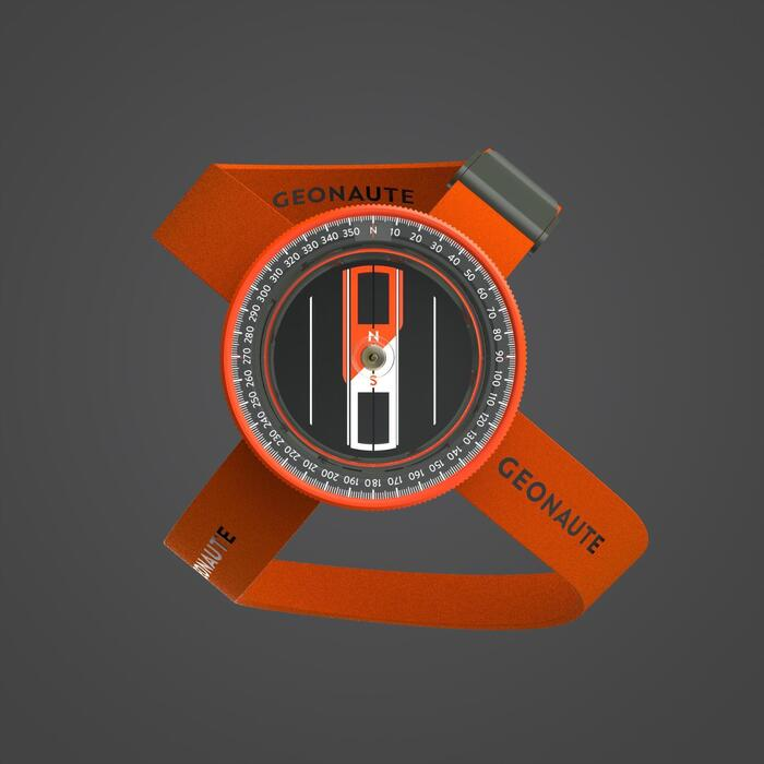 Boussole RAPIDE et STABLE pour raid MULTISPORT portage POIGNET orange et noire