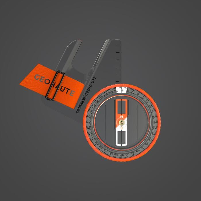 定向越野跑專用左指指北針RACER 500 - 橘色