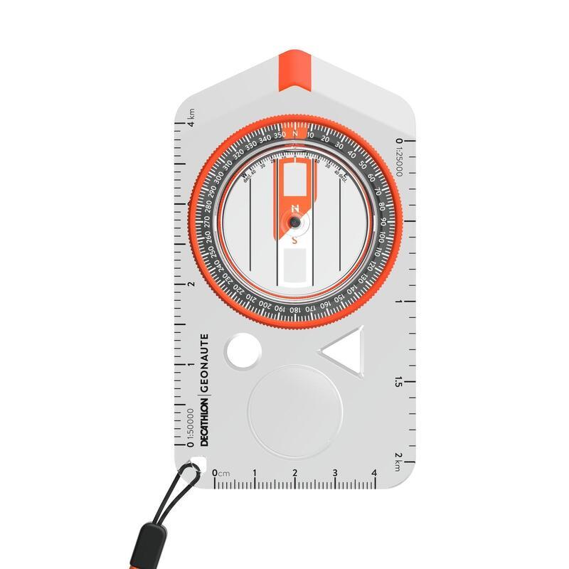 Brújula Placa Carreras Orientación Senderismo Explorer 500 Naranja