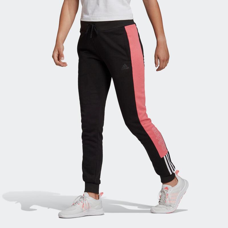 Pantalon jogging Adidas Fitness Colorblock Noir et Rose