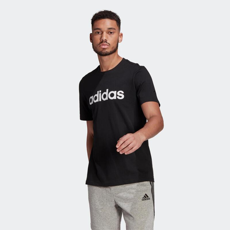 T-shirt fitness Adidas manches courtes slim coton col rond homme noir