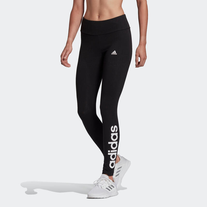 Legging fitness long coton majoritaire taille haute femme - Linear noir blanc