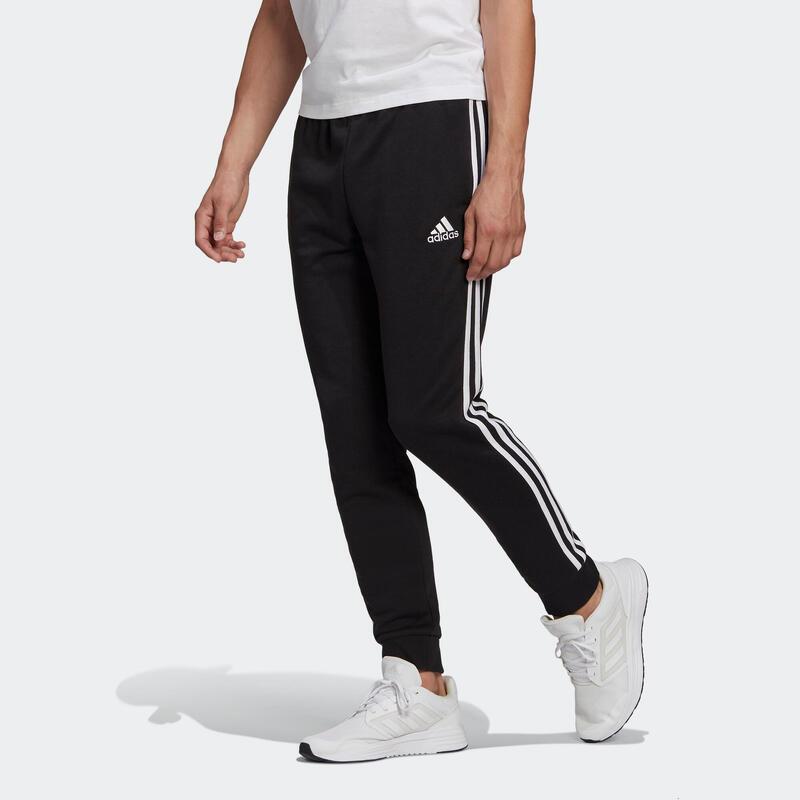 Joggingbroek voor fitness drie strepen zwart