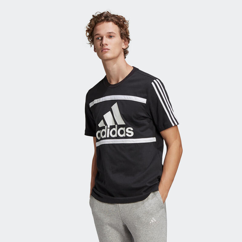 T-shirt fitness Adidas manches courtes slim 100% coton col rond homme noir
