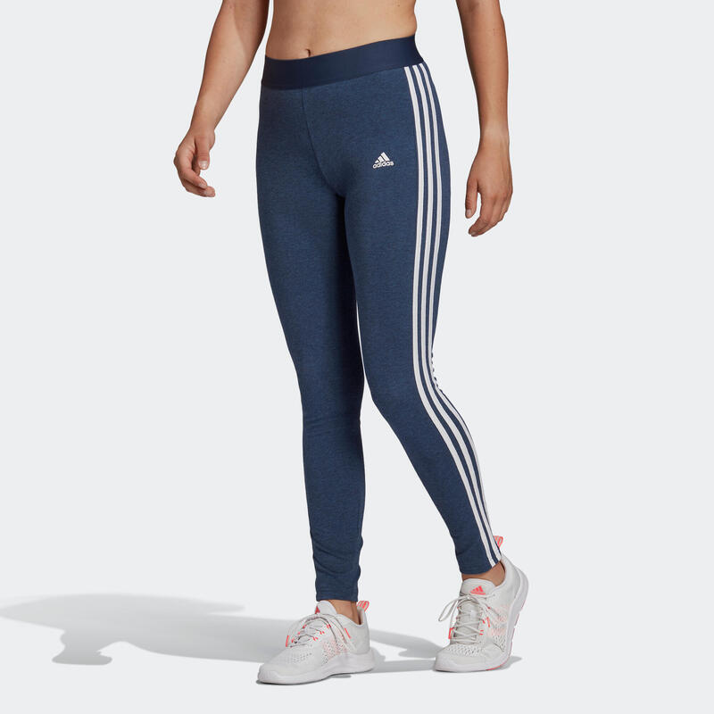 Mallas Leggings Adidas Fitness 3 franjas Azul Jaspeado