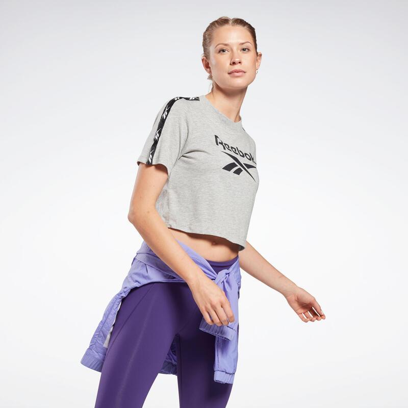 T-shirt fitness manches courtes crop top coton col rond femme gris chiné