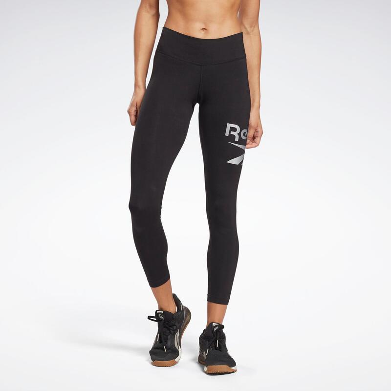 Legging fitness 7/8 coton majoritaire extensible femme - Identity noir argent