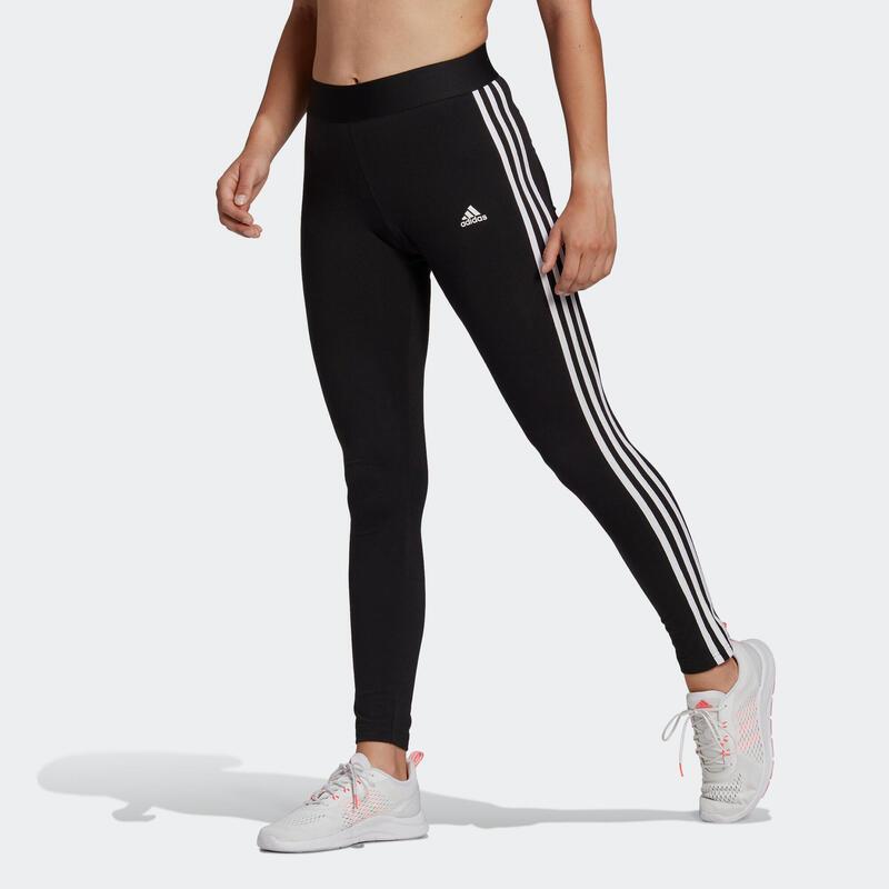 Legging fitness long coton majoritaire taille haute femme - 3 bandes noir blanc