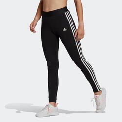 Leggings donna Adidas 3 stripes cotone nero e bianco