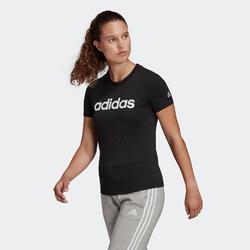 T-Shirt voor fitness volledig katoen Linear zwart
