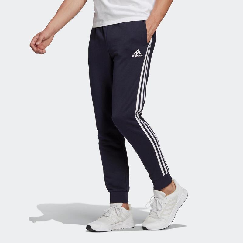 Pantalón jogger Adidas Fitness 3 franjas azul marino
