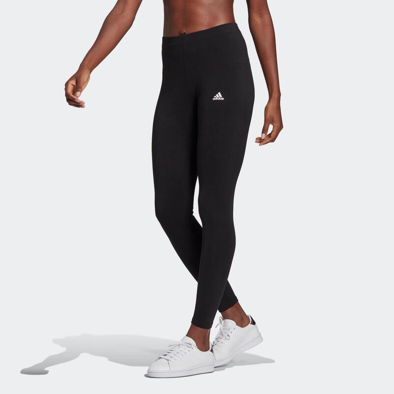Legging fitness 7/8 coton majoritaire extensible femme - Adidas Essentials noir