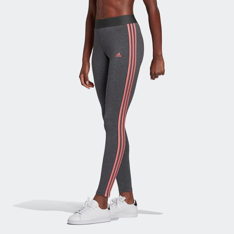 Mallas Leggings Adidas Fitness 3 franjas Gris Jaspeado y Rosa