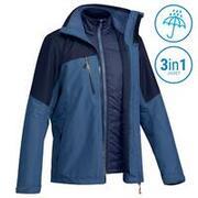 Men's 3-in-1 Waterproof Travel Trekking Jacket Travel 500 -10°C - Blue