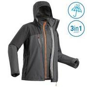 M 3-In-1 Waterproof Comfort -10°C Travel Trekking Jacket - TRAVEL 500 - Black