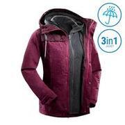 Women's 3-In-1 Waterproof Comfort 0°C Travel Trekking Jacket - TRAVEL 100 - pink