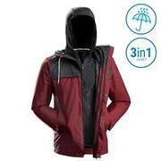 Men's Travel Trekking 3-in-1 Jacket Travel 100 - red