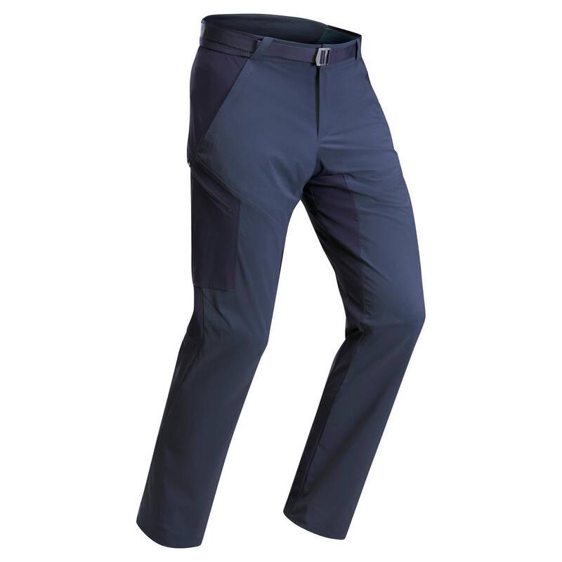 PÁNSKÁ TURISTICKÁ TRIČKA A KALHOTY Turistika - Kalhoty MH 500 modré QUECHUA - Turistické oblečení