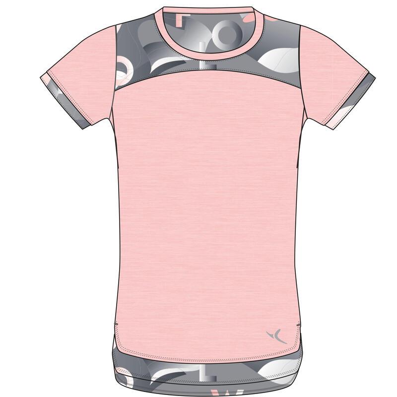T-Shirt manches courtes coton respirant 500 fille GYM ENFANT rose clair AOP gris