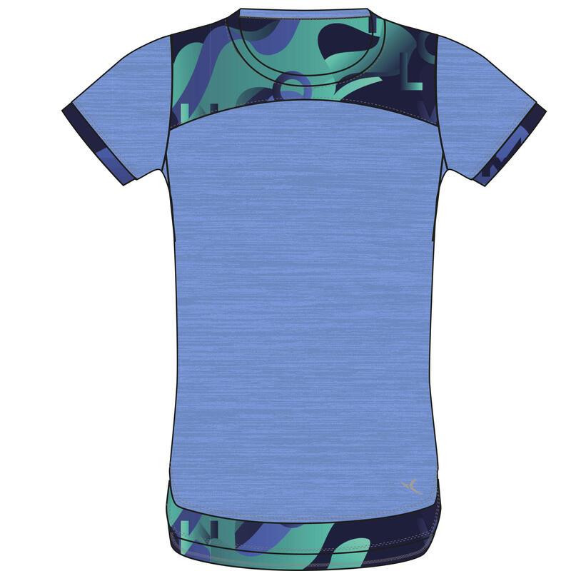 T-shirt enfant coton respirant 2 en 1 - 500 bleu avec imprimé