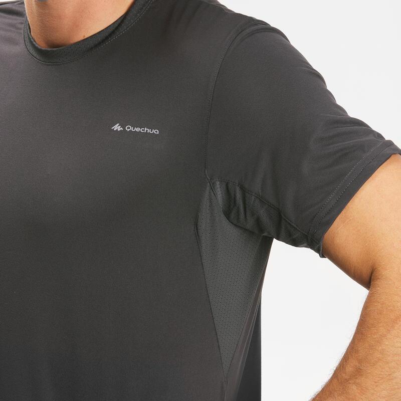 Men's Mountain Hiking short-sleeved T-Shirt - MH100- Grey