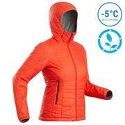 Women's Mountain Trekking Hooded Insulated Jacket TREK 100 - Red