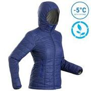 Women's Hooded Mountain Trekking Insulated Jacket TREK100 - Blue