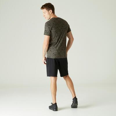Camiseta algodón extensible fitness slim caqui con estampado