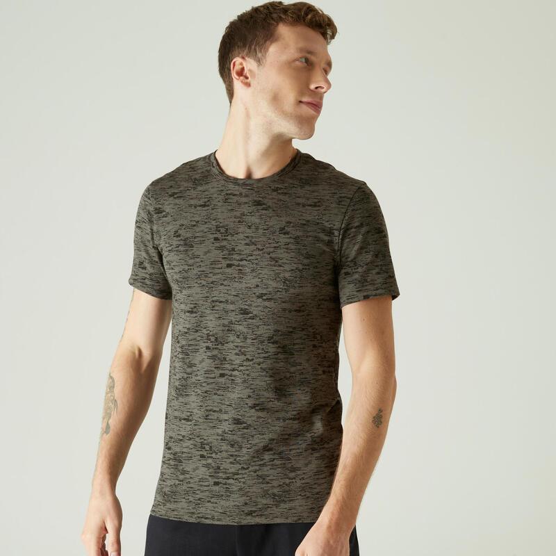 T-shirt fitness manches courtes slim coton extensible col rond homme kaki