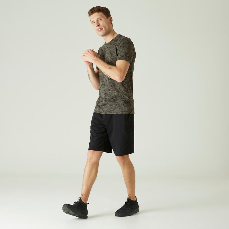T-Shirt Coton Extensible Fitness Slim Kaki avec Imprimé