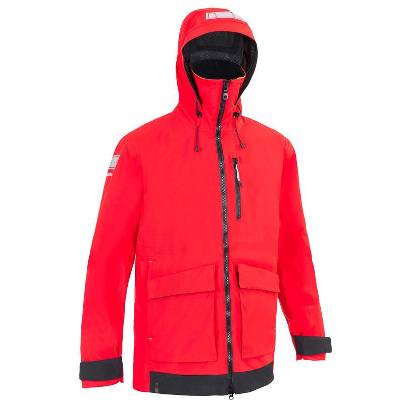 Veste de quart imperméable et coupe vent de voile SAILING 500 homme Rouge