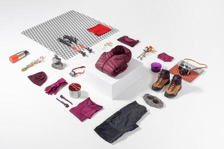 Women's Merino Wool Mountain Trekking Pants Trek 500 - Purple