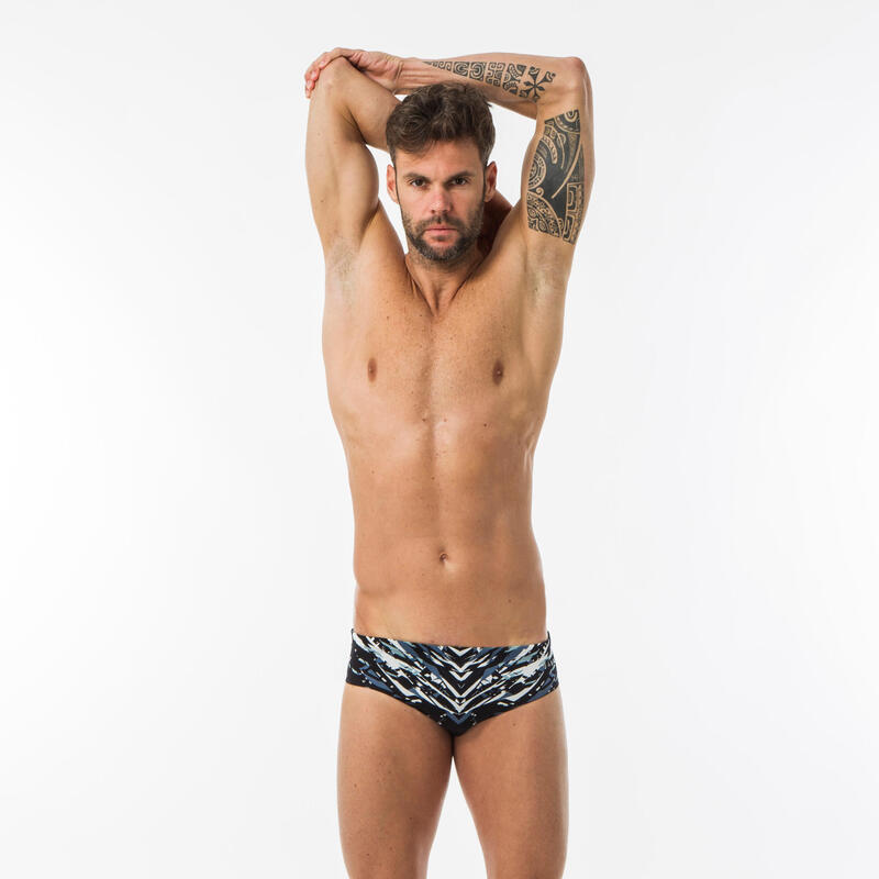 MEN'S PRINTED SWIMMING TRUNKS 900 XEN - BLACK