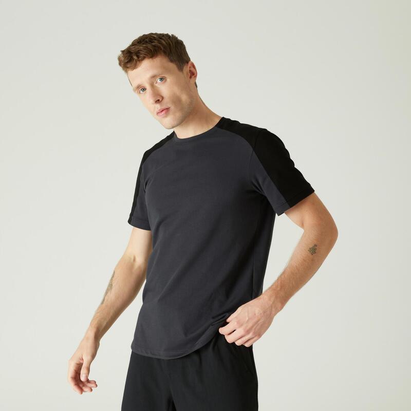 T-shirt voor pilates en lichte gym heren 520 rekbaar katoen afgerond geel/zwart