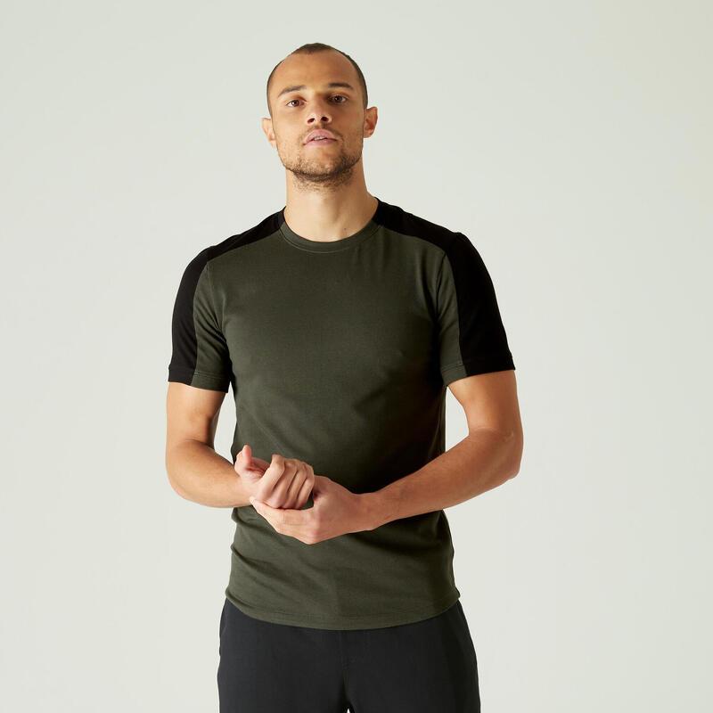 T-shirt voor pilates en lichte gym heren 520 rekbaar katoen slim fit kaki