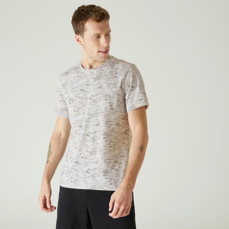 Pánské bavlněné fitness tričko 500 bílé