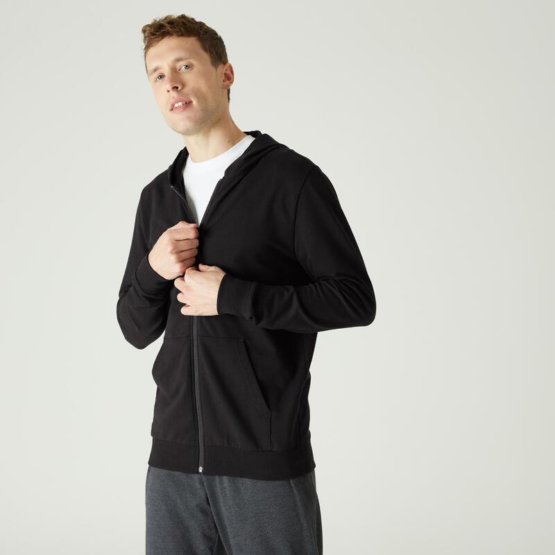 Sweat Zippé à Capuche Fitness Légère Noir
